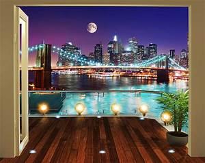 fototapete new york brooklyn bridge panorama walltastic With markise balkon mit selbstklebende tapete new york