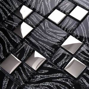TST Crystal Glass Tiles Black And White Mosaic Glass Tiles ...