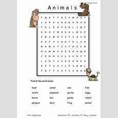Esl Vocabulary Word Search Animals Worksheet For 3rd  4th Grade  Lesson Planet