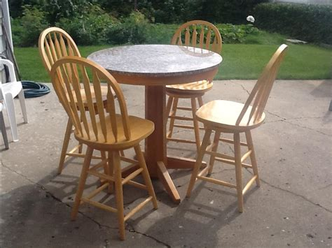 solid oak and granite pub table and chairs reduced south