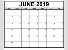 Printable June 2019 Calendar By Month Free Printable