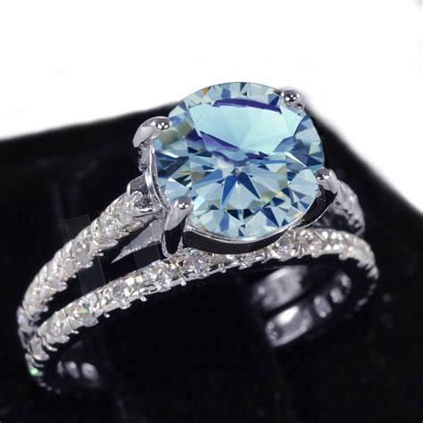white gold aquamarine wedding engagement eternity sterling