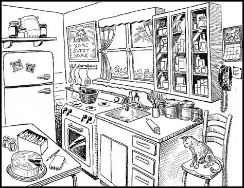 drawing clipart kitchen pencil   color drawing