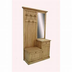 Meuble d39entree vestiaire tradition 2p 1t 190 cm pier import for Vestiaire meuble d entree