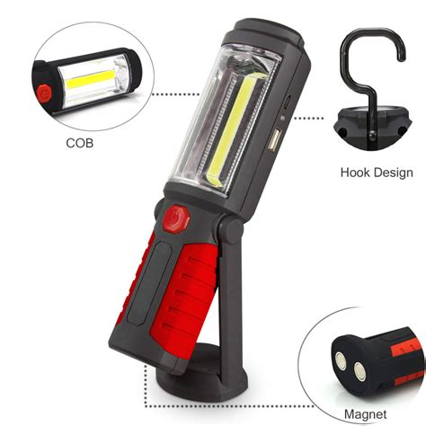 magnetic led work light rechargeable usb rechargeable led flashlight torch work light stand cob