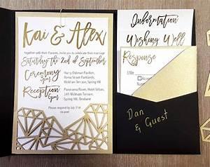 my diy story geometric black gold foil pocket With gold leaf wedding invitations diy