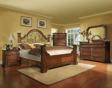 King Size Antique Brown Bedroom Set With Iron, Wood, Free