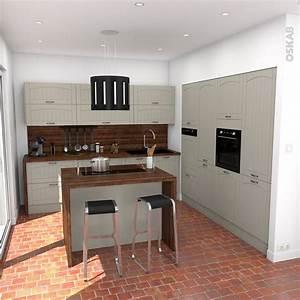 cuisine traditionnelle couleur argile avec facades de With meuble ilot central cuisine 1 petit ilot central de cuisine cuisine en image