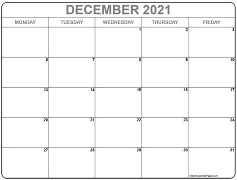 december  monday calendar monday  sunday