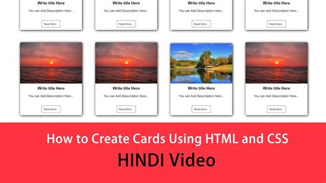 create cards design  html  css youtube