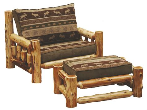 cedar log frame chair and a half from fireside lodge