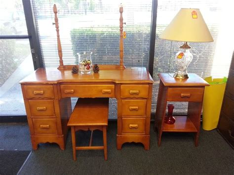 1920's Vanity Dressing Table Set W/ Bench & Stand Antique