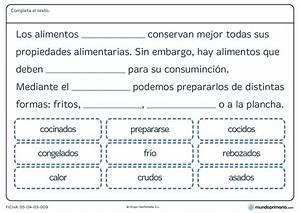 Ficha de alimentos y formas de cocinarlos para primaria