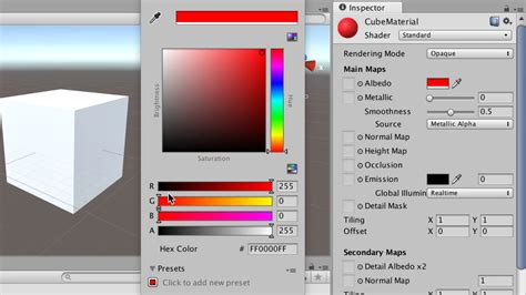color unity changing a cube s color unity tutorial mammoth interactive
