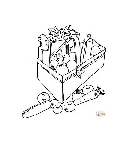 Coloring Pages Printable Grocery Bag Sheets Vegetables