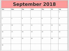 Free March 2018 Calendar Excel Template pdf — September
