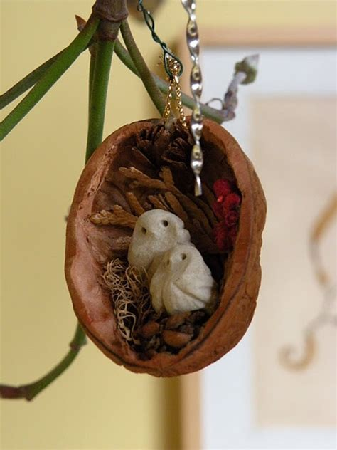 walnut shell ornament with owls christmas ornaments