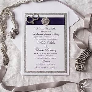 Alisha + Dan's Elegant Purple Foil and Silver Glitter ...