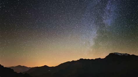 Night Sky Stars Milky Way Mountains Background Stock