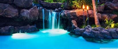 Tropical Resort Waterfalls Landscape Hawaii Pool 3440