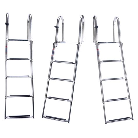 Stainless Folding Boat Ladder by 4 Step Premium Stainless Folding Rear Entry Pontoon Boat