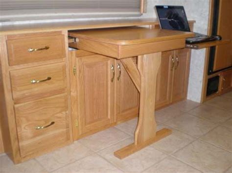 desk with slide out table custom slideout rv desk rv stuff pinterest laptops