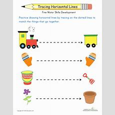 Line Tracing Fun With Horizontals  Worksheet Educationcom