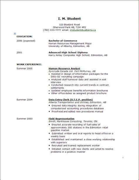 Exles Of A High School Resume For College Applications by Exles Of Senior High School Resumes Experience Resumes