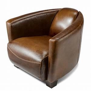 fauteuil design croute de cuir vieilli enduite bycast club With fauteuil canapé cuir