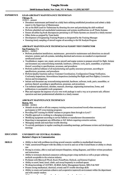 aircraft maintenance technician resume samples velvet jobs