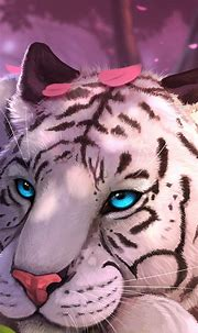 1440x3100 Blue Eyes White Tiger In Fantasy World 1440x3100 ...