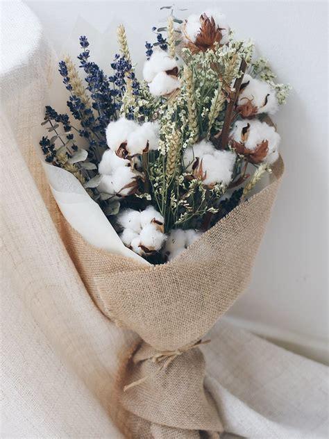 dried cotton lavender eucalyptus wheat flower bouquet