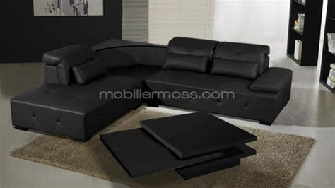 canapé d angle noir cuir photos canapé d 39 angle cuir noir design