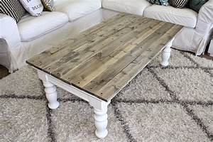 Nifty thrifty momma farmhouse style coffee table for Grey farmhouse coffee table