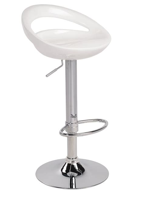 White Air Lift Adjustable Stools Swivel Bar Stool With A