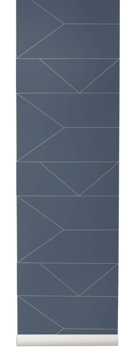 papier peint lines 1 rouleau larg 53 cm bleu or ferm living