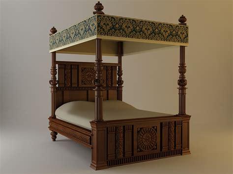antique canopy bed  model max obj ds fbx cgtradercom