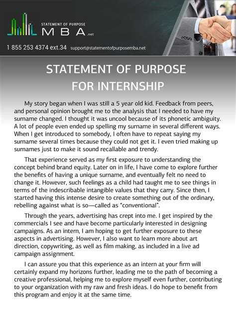 statement  purpose  internship  writing advice