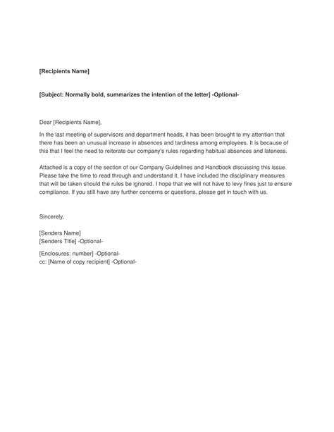 memorandum template sample absenteeism  tardiness