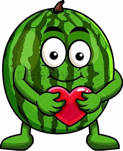 Watermelon Clipart Heart Cartoon Mascot Hugging Icon