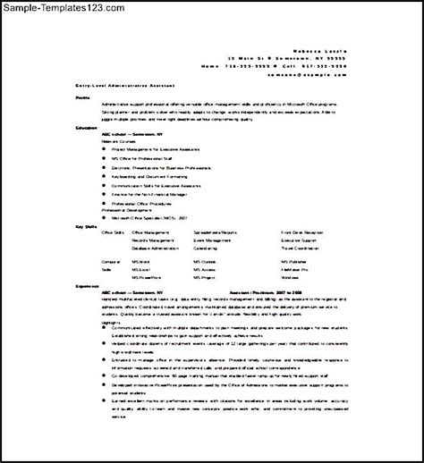 Administrative Resume Format by Administrative Assistant Resume Format Free