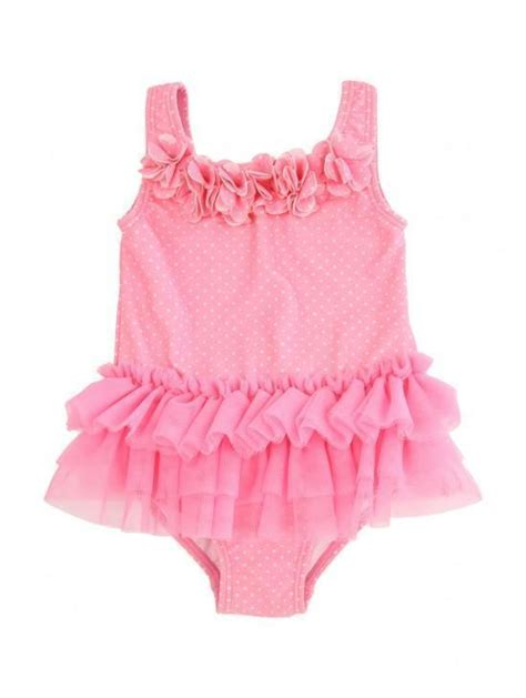 baby girls pink tutu swimsuit peacocks