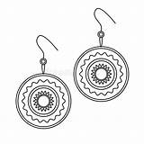 Earrings Outline Coloring Simple Jewelry Line Doodle Woman Illustrations sketch template