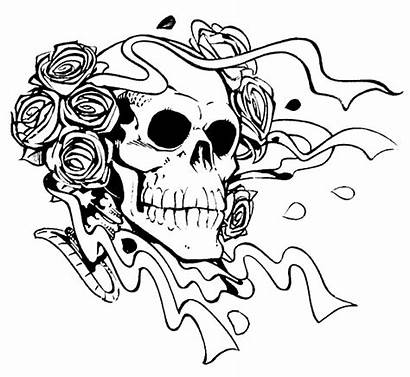 Scary Coloring Pages Skull Roses Printable Horror
