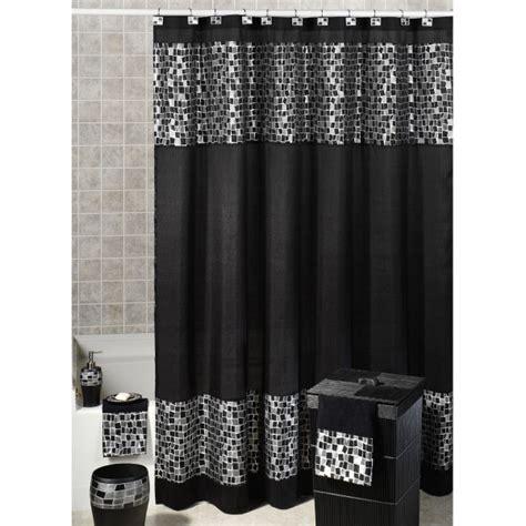 black  white fabric shower curtain decor ideas