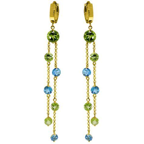 Topaz Chandelier Earrings by 8 99 Carat 14k Solid Gold Chandelier Earrings Peridot Blue