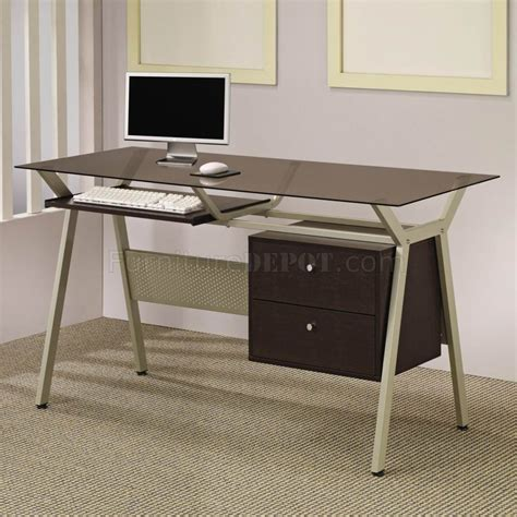 metal and glass office desk metal base smoked glass modern home office desk w two