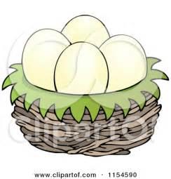 Cartoon Birds Nest with Eggs