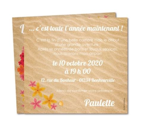 carte invitation d 233 part retraite couronne d hibiscus wr 815 retirement