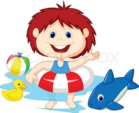 Girl Cartoon Floating With Inflatable Ring